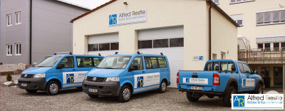 Das neue Werkstatt-Gebäude der Firma Alfred Restle - Bäder & Kundendienst