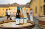 Weinflaschen auf einem Holzfass, Personen im Hintergrund © Staatsweingut Meersburg