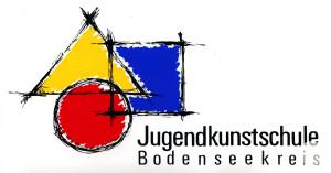 Es ist das Logo der Jugendkunstschule Meersburg zu sehen. Es sind verschiedene graphische Figuren in verschiedene Farben.