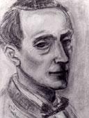 Gezeichnetes Portrait von Waldemar Flaig in schwarz-weiß.