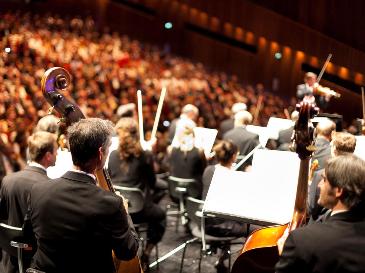 Im Vordergrund einige Streichmusiker, die mit dem Rücken zum Betrachter sitzen. Im Hintergrund eine große Publikumsmenge.
