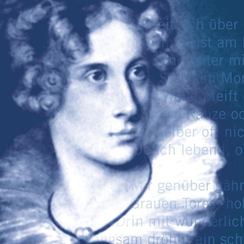 Gemälde von Anette Droste von Hülshoff. Das ganze Bild ist in blau gehalten.