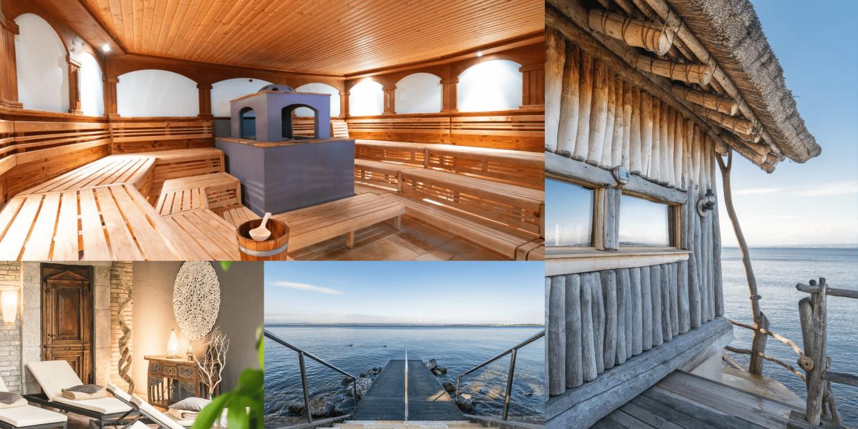 Zu sehen ist einmal eine Sauna von Innen aus Holzmaterial und das Gebäude der Saune mit dem See im Hintergrund. Außerdem ein Steg der direkt ins Wasser führt, mit Blick auf den Bodensee.