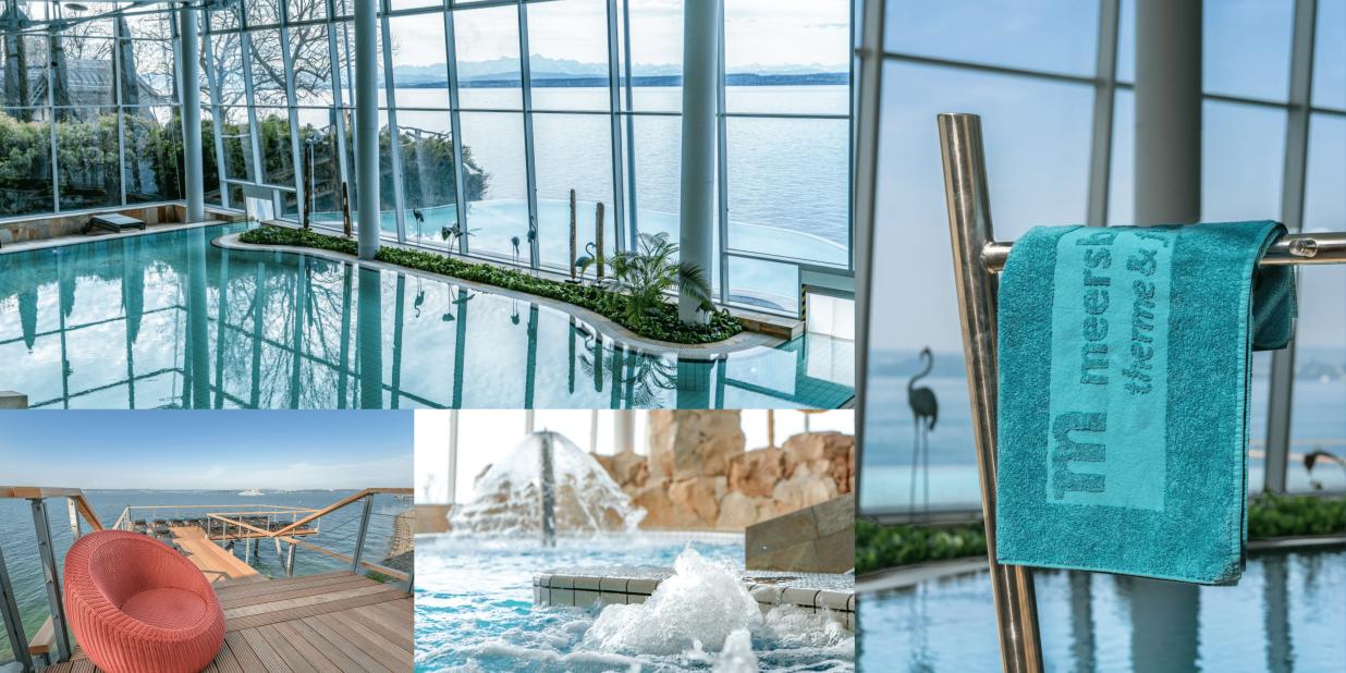 """""""Collage aus vier Fotografien der Therme Meersburg. Diese zeigen das Innen—und Außenbecken der Therme. Links ist ein Steg hinaus zum Bodensee mit einem roten Sessel im Vordergrund abgebildet. Rechts ein Handtuchständer mit blauem Handtuch"""